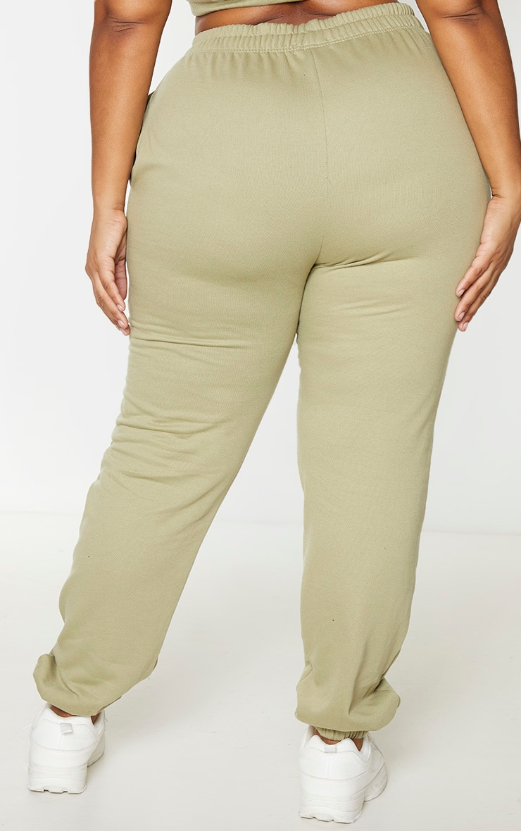 PRETTYLITTLETHING Plus Sage Green Drawstring Joggers 3