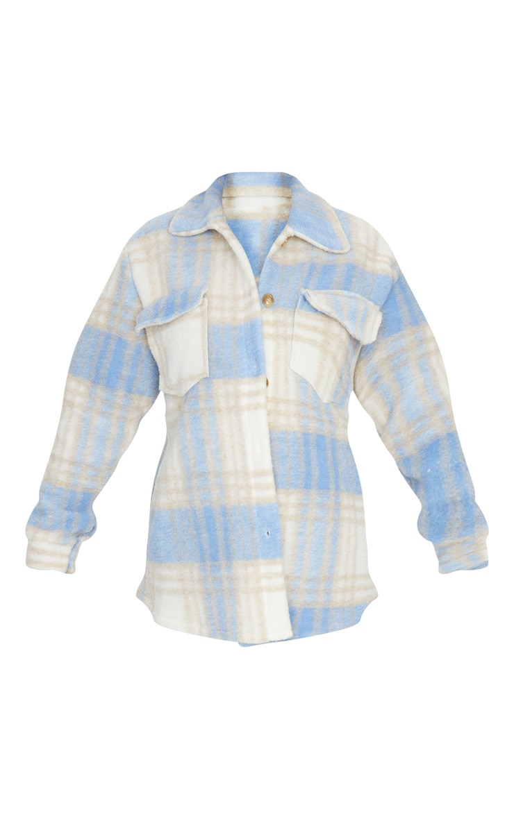 Blue Brushed Check Print Shacket 5