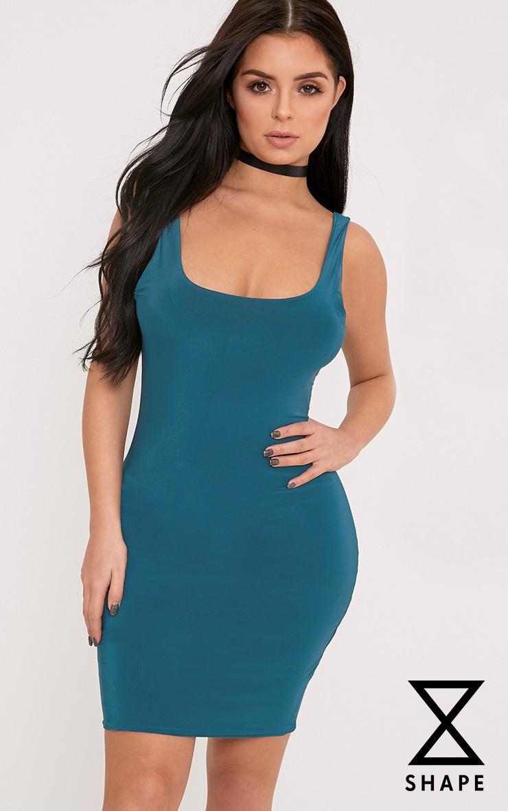 Shape Abbi Teal Slinky Mini Dress  1