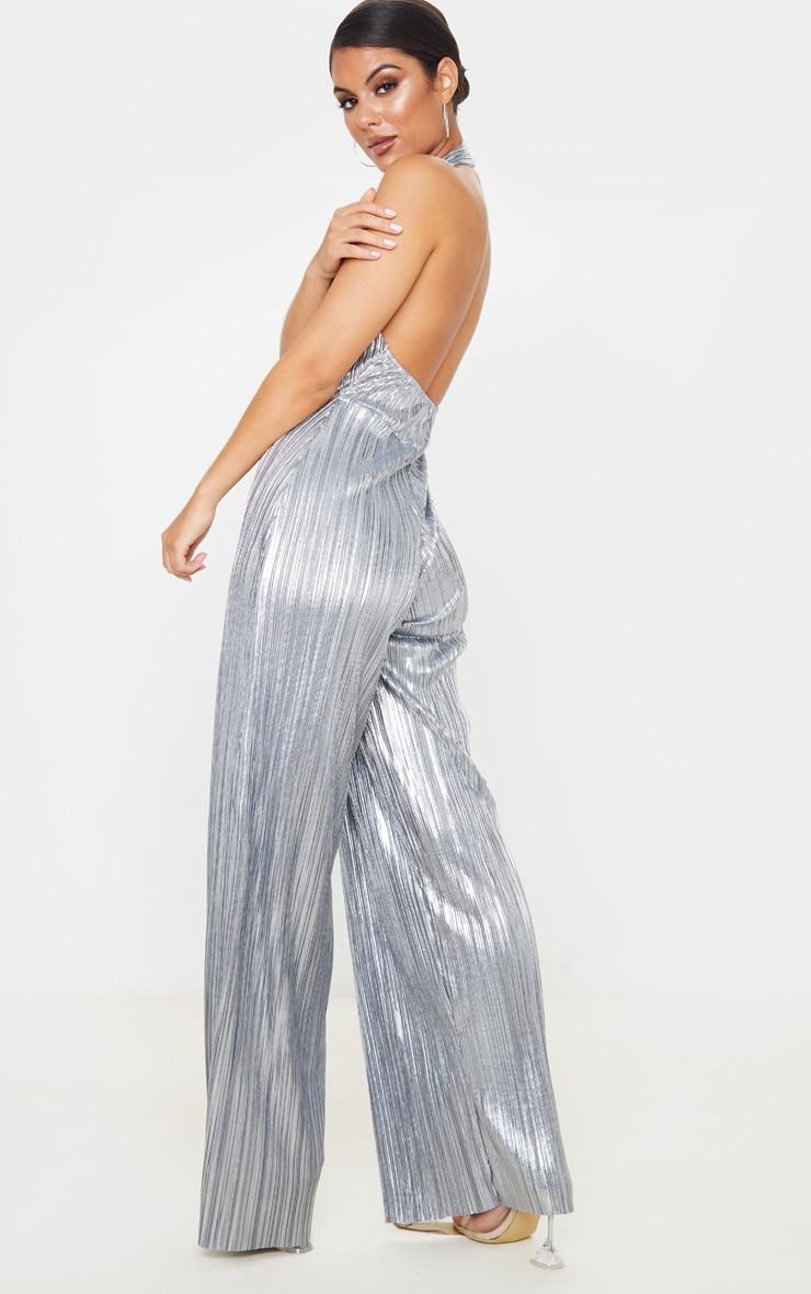 Silver Plisse Halterneck Wide Leg Jumpsuit 2