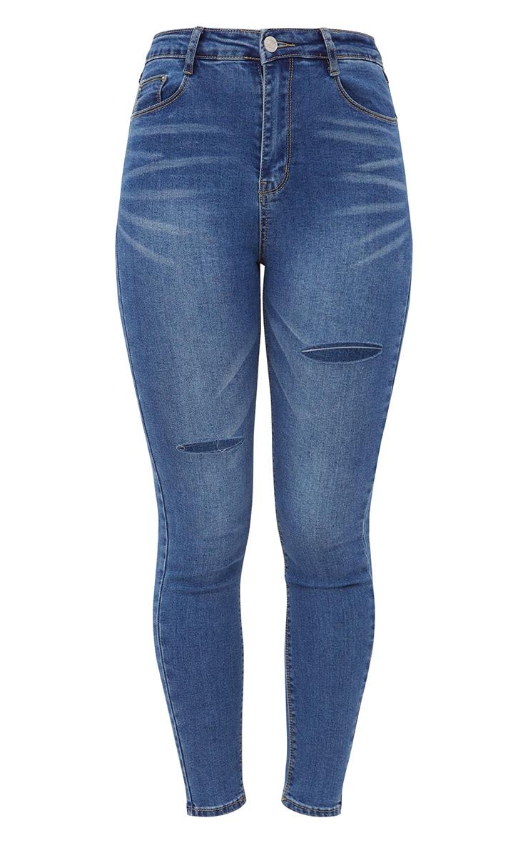 Mid Wash Thigh Split Skinny Jeans  3