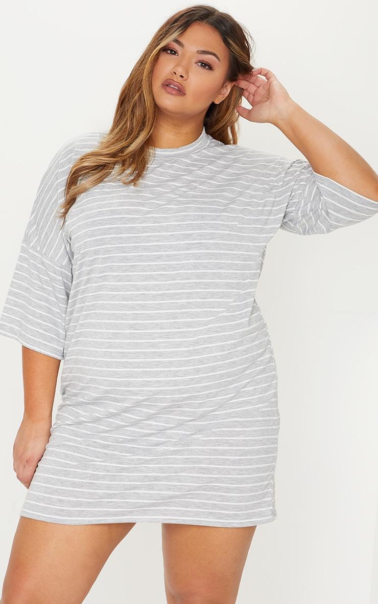 Plus Grey Striped Oversized T Shirt Dress 1
