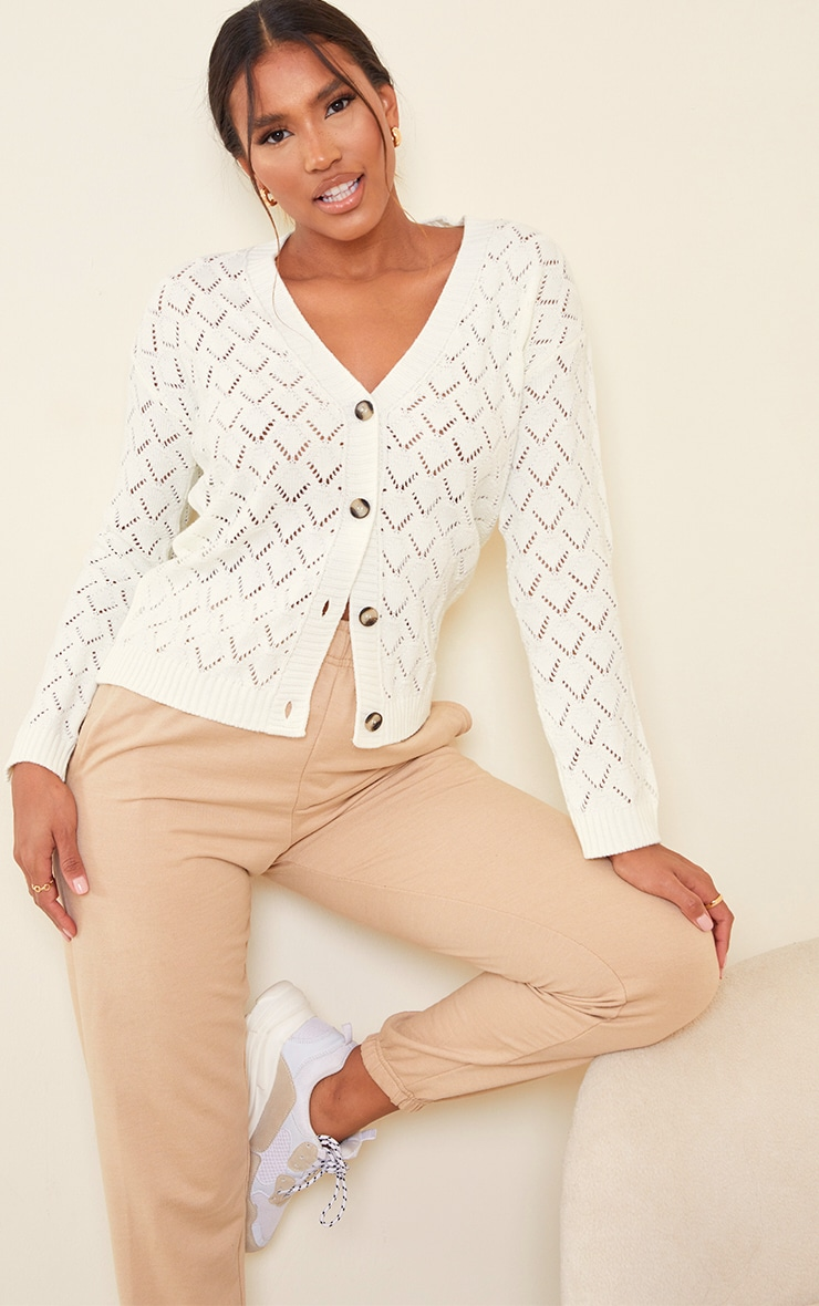 Cream Pointelle Button Up Slouchy Cardigan 1