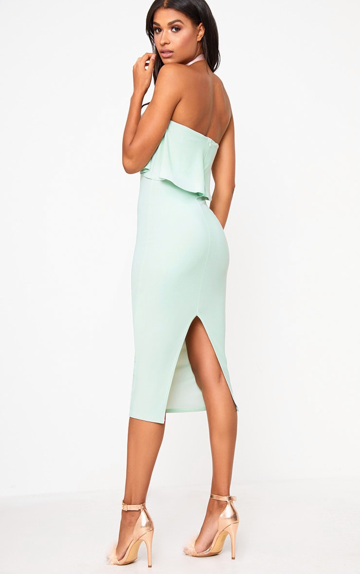 Sage Green Frill Bandeau Midi Dress  2