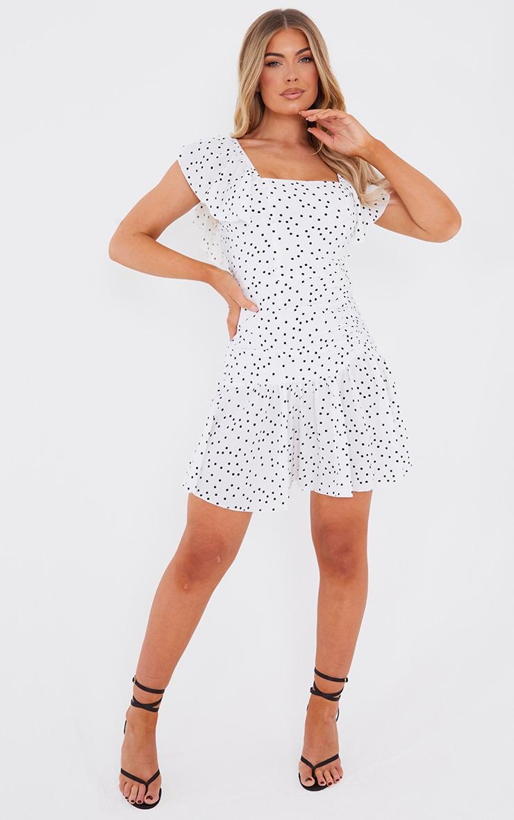 White Dalmatian Flare Sleeve Frill Hem Skater Dress image 3