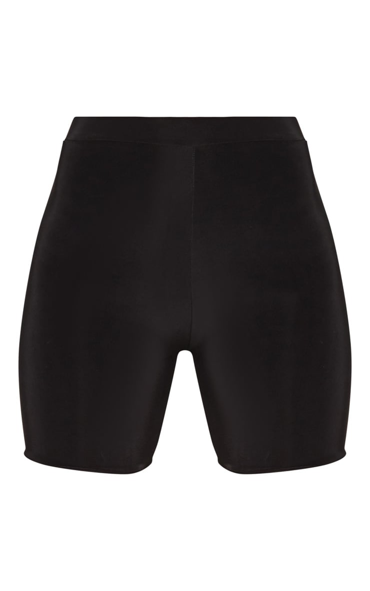 Petite Black Slinky High Waist Bike Shorts 3
