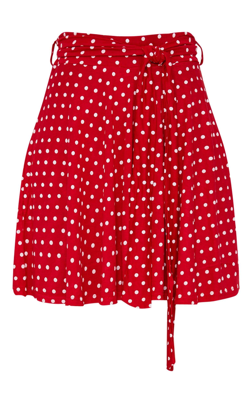 Red Jersey Polkadot Tie Waist Skirt 3