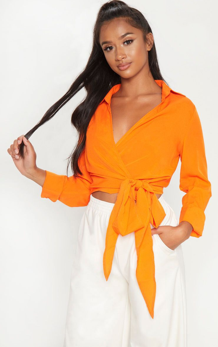 Petite Orange Tie Waist Blouse 1