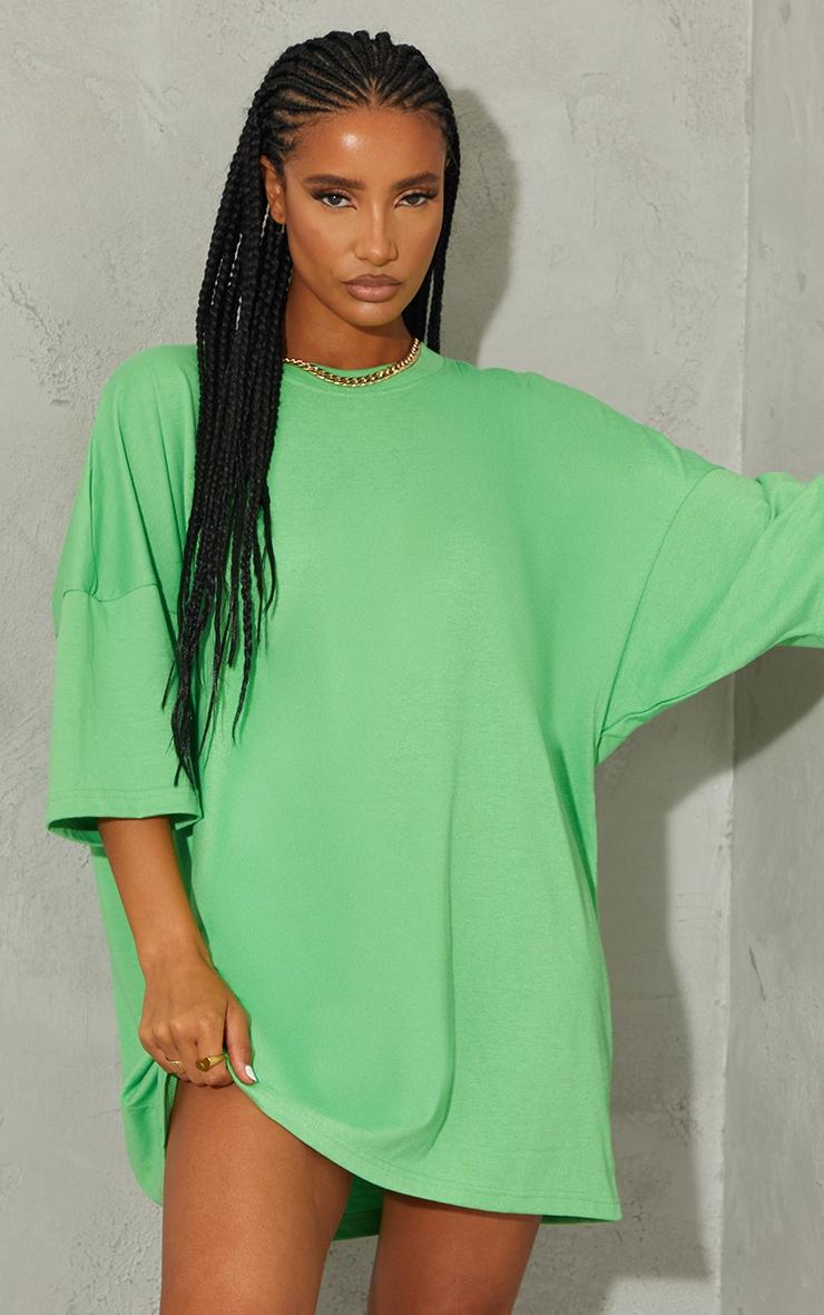 Green London England Graphic Short Sleeve T Shirt Dress 2