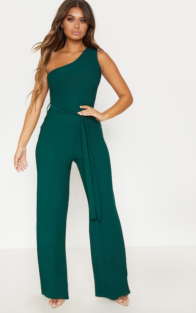 313931e5fca1 Emerald Green One Shoulder Tie Waist Jumpsuit