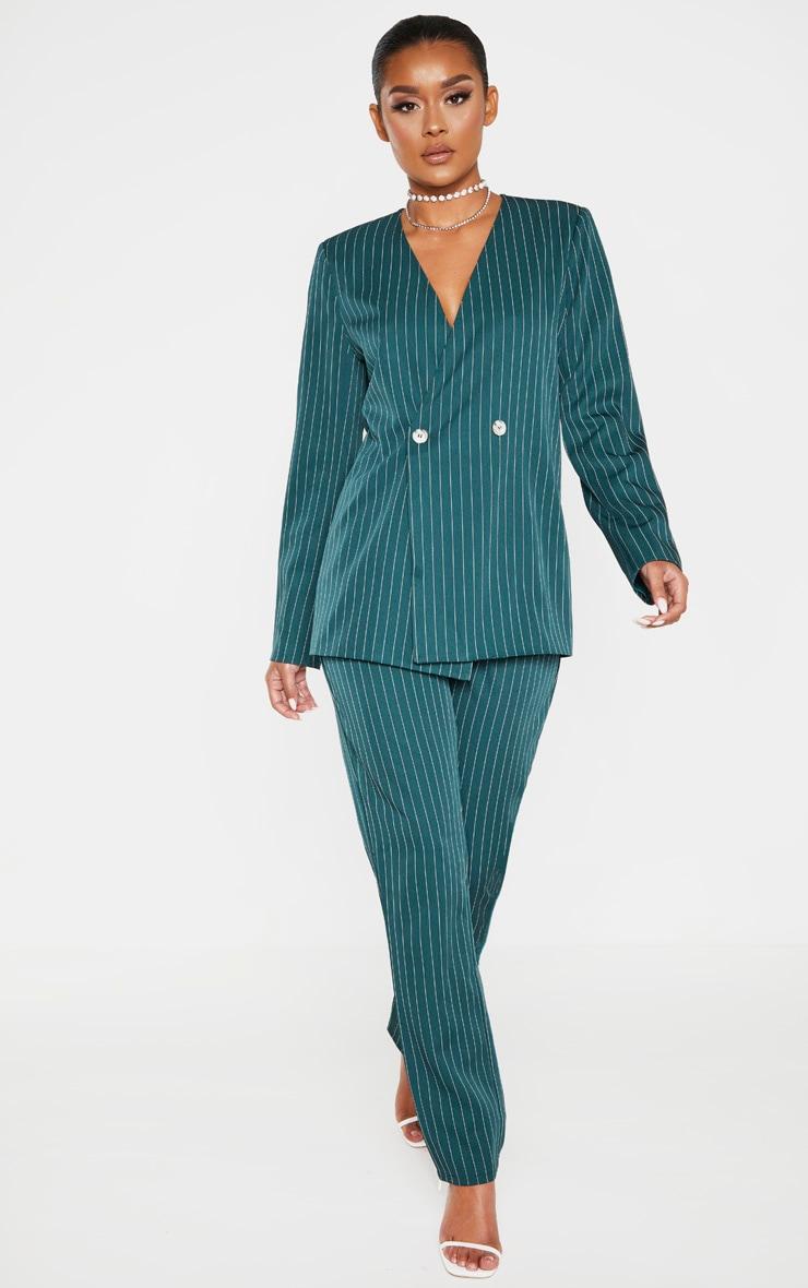 Jasper Green Pinstripe Double Breasted Oversized Blazer 4