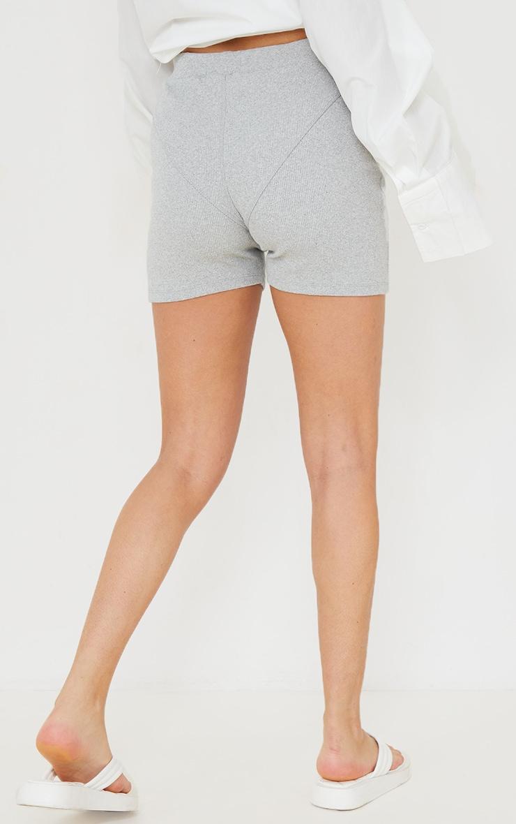 Grey Ribbed Seam Detail Shorts 3