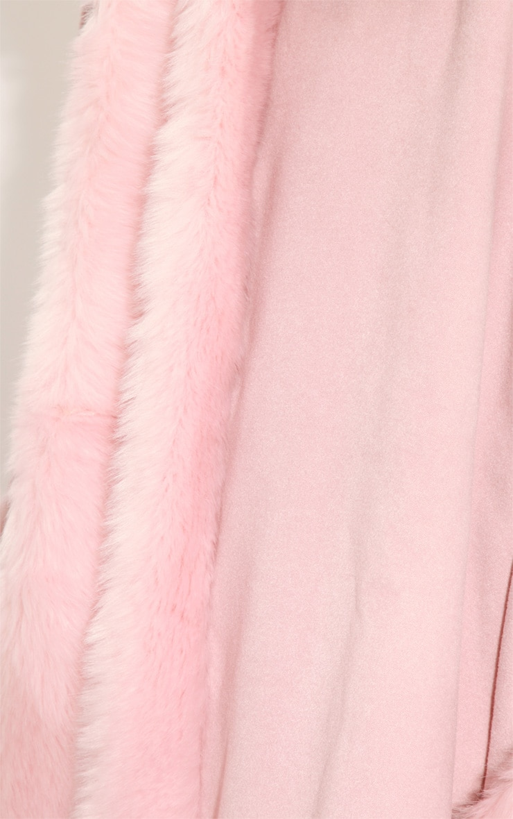 Mada Pink Hooded Faux Fur Cape 6