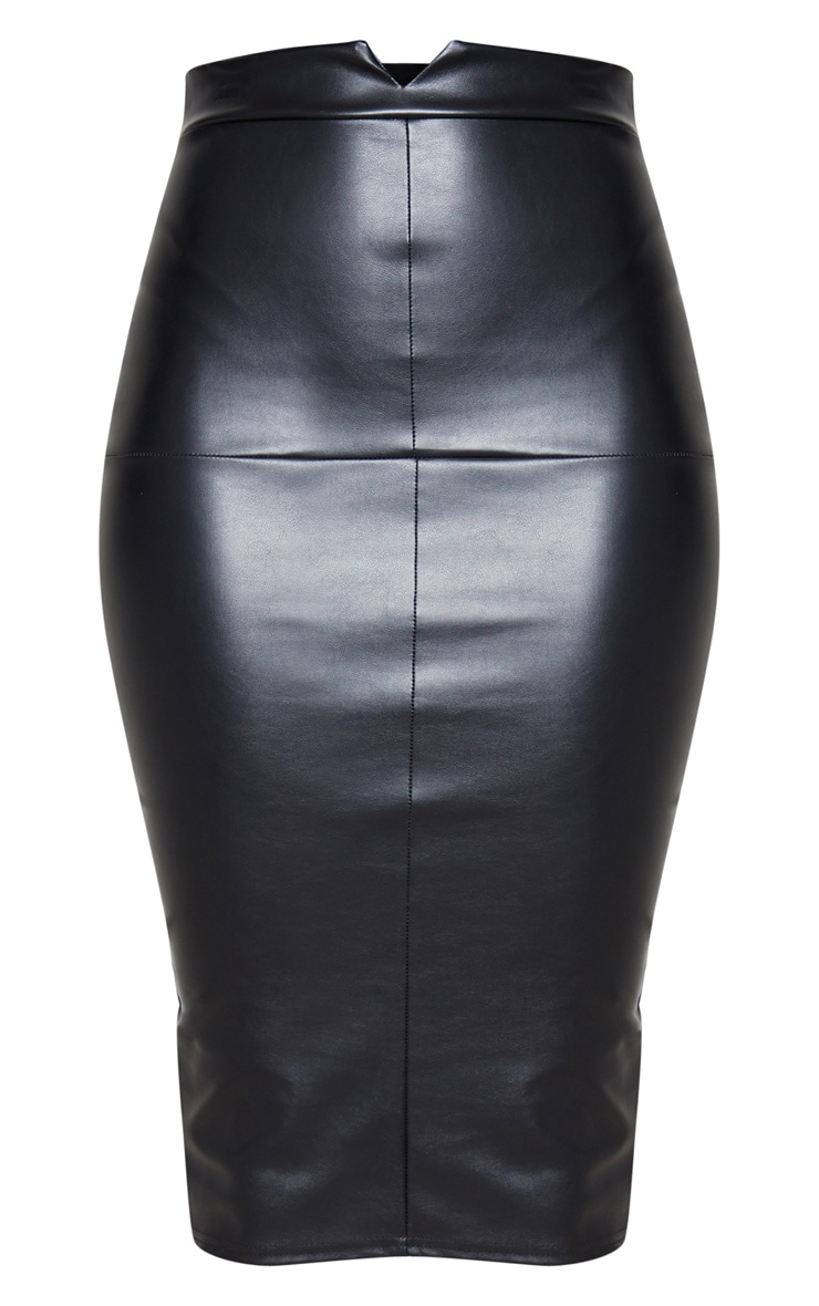 Tall Black Faux Leather Panel Midi Skirt 3