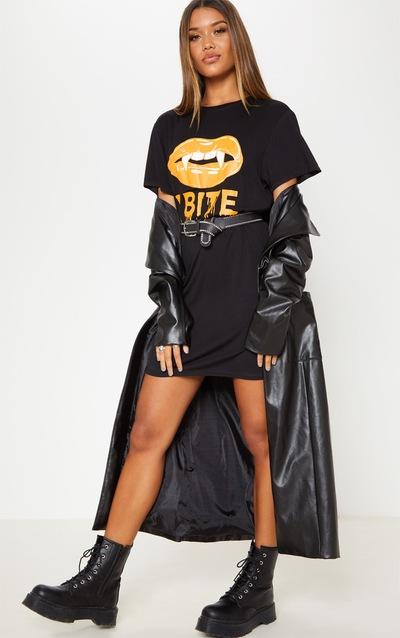 Black Bite Print T Shirt Dress