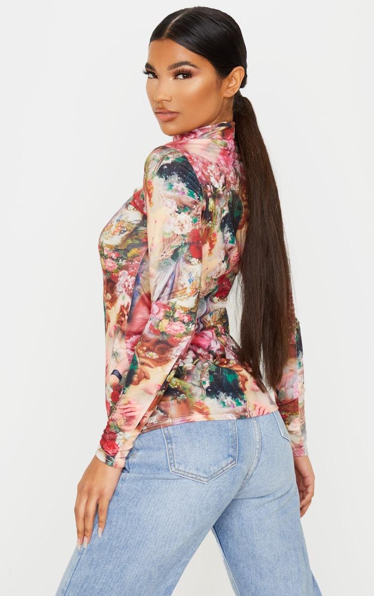 Multi Renaissance Printed High Neck Long Sleeve T Shirt 2