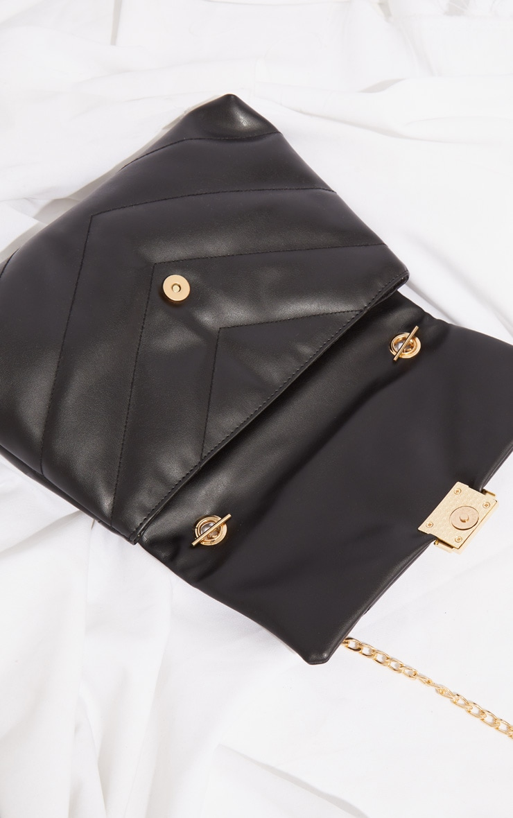 Black Quilted PU Cross Body Bag 4
