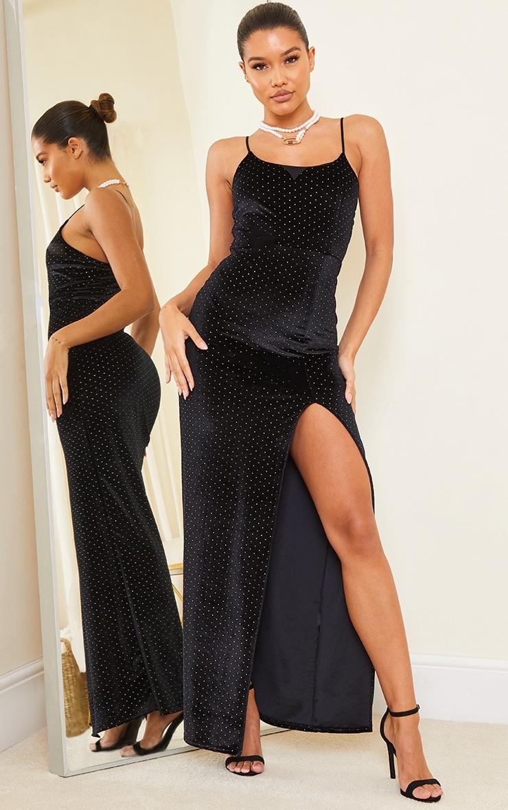 Black Studded Velvet Strappy Maxi Dress 1