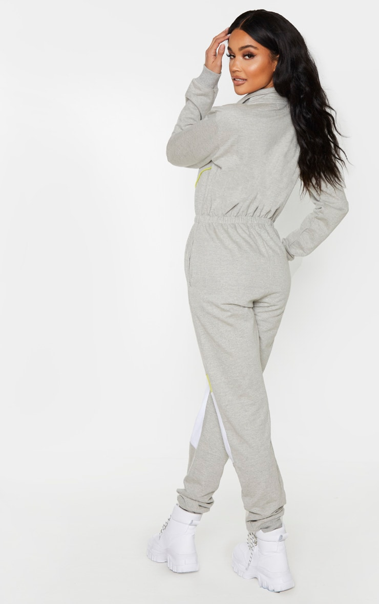 Grey Zip Detail Colour Block Sweat Jumpsuit 2