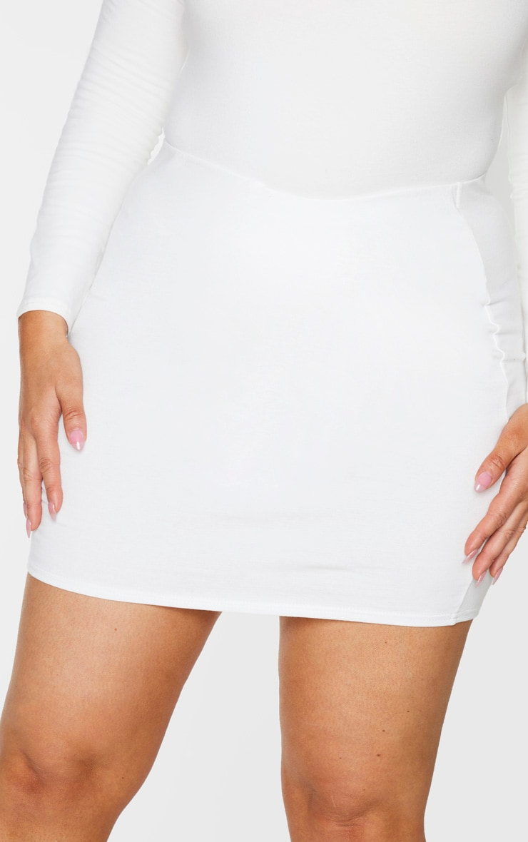 Plus Cream Cotton High Waisted Bodycon Skirt 5