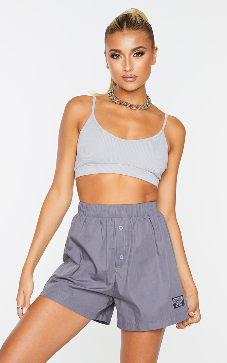 PRETTYLITTLETHING Charcoal Woven Boxer Detail Shorts 4