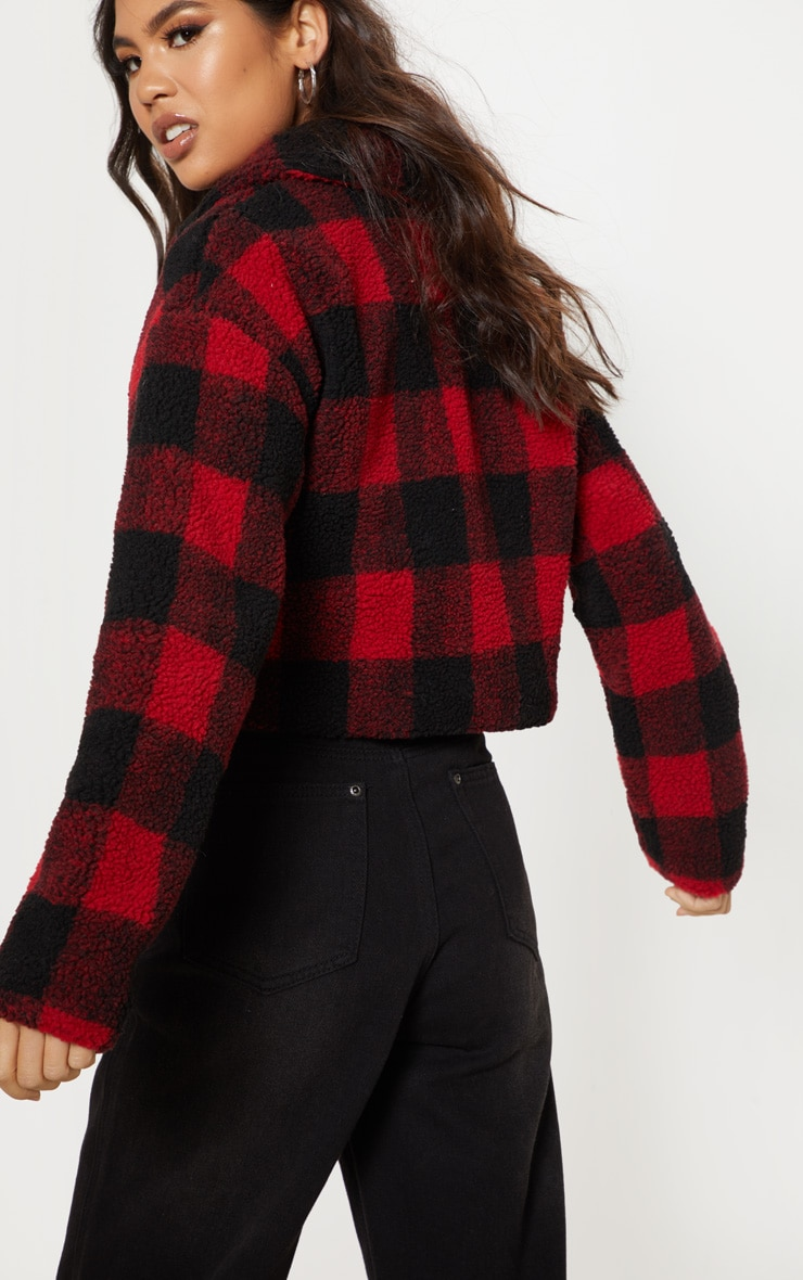 Red Cropped Checked Borg Jacket  2