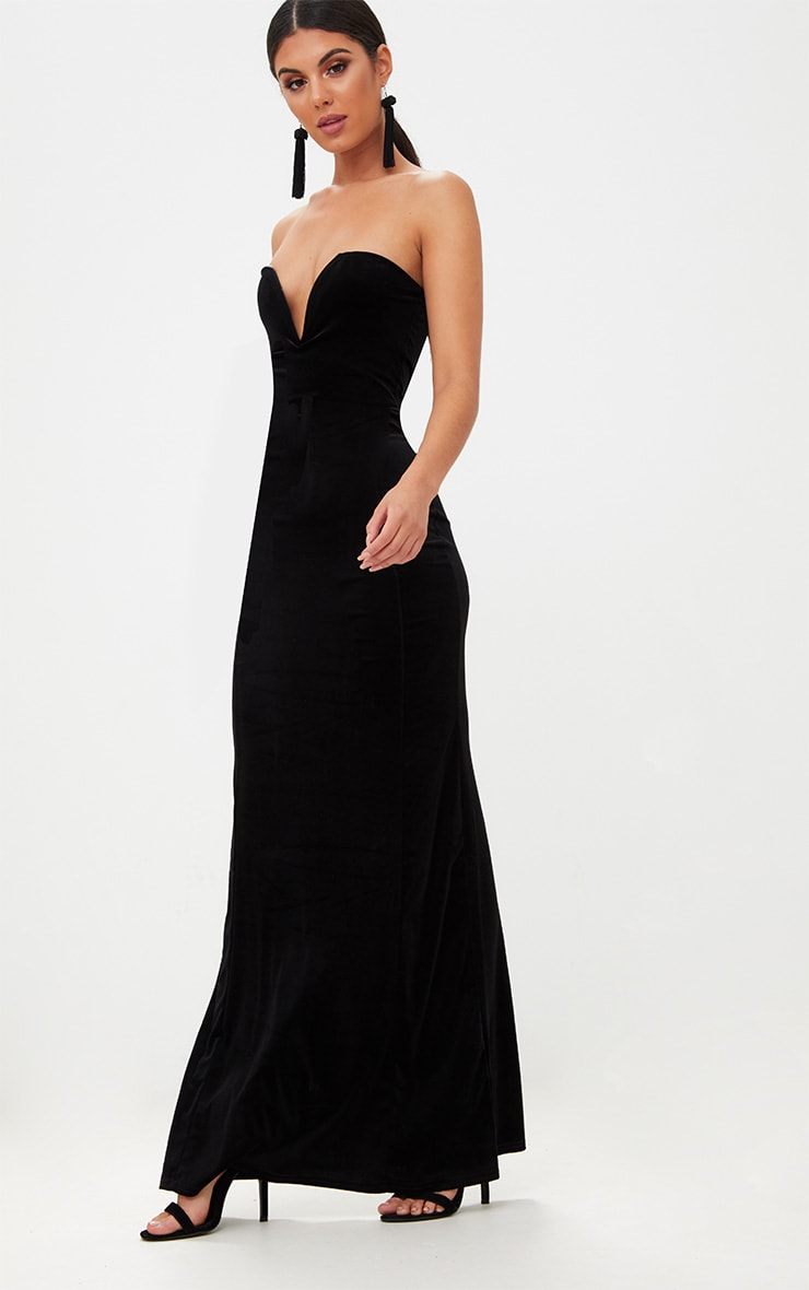 Black Strapless V Plunge Maxi Dress  4