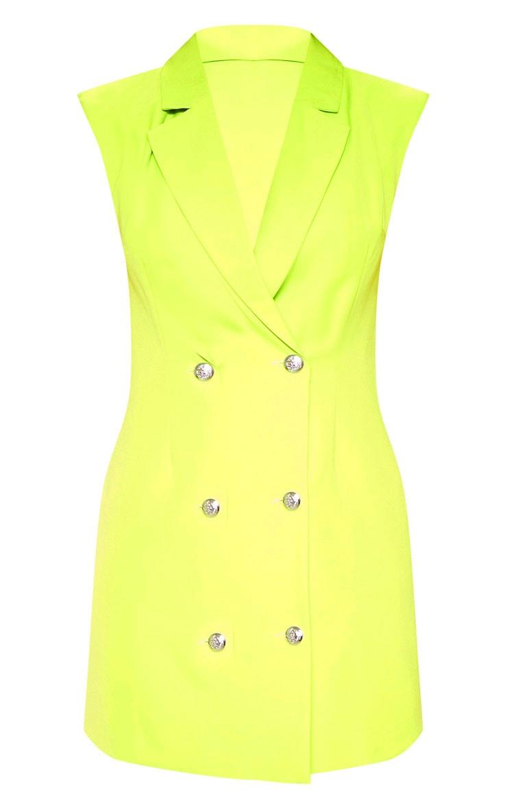Lime Sleeveless Button Detail Bodycon Dress 3