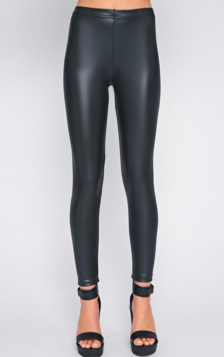 Tilly Black Wet Look Leggings  3