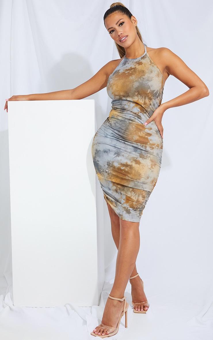 Shape Tan Tie Dye Rib Ruched Side Halterneck Bodycon Dress 1