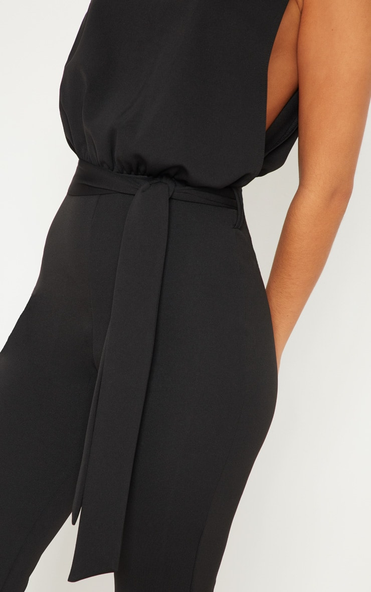 Black Scuba High Neck Tie Waist Jumpsuit 5