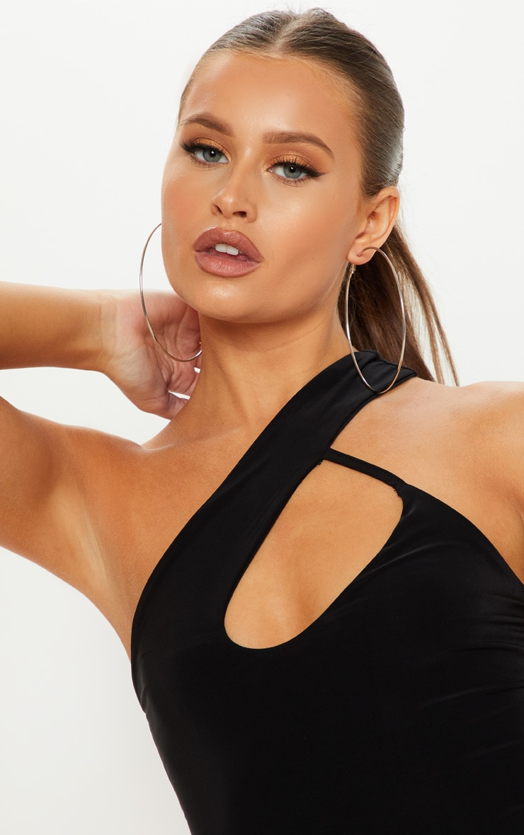 Black One Shoulder Cut Out Bodysuit 6
