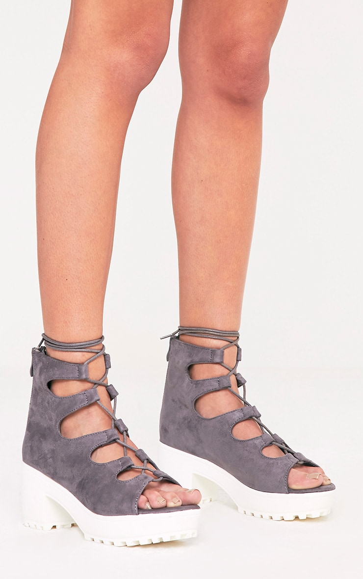 PRETTYLITTLETHING Caprice Faux Suede Lace Up Sandals lrEOGF87u