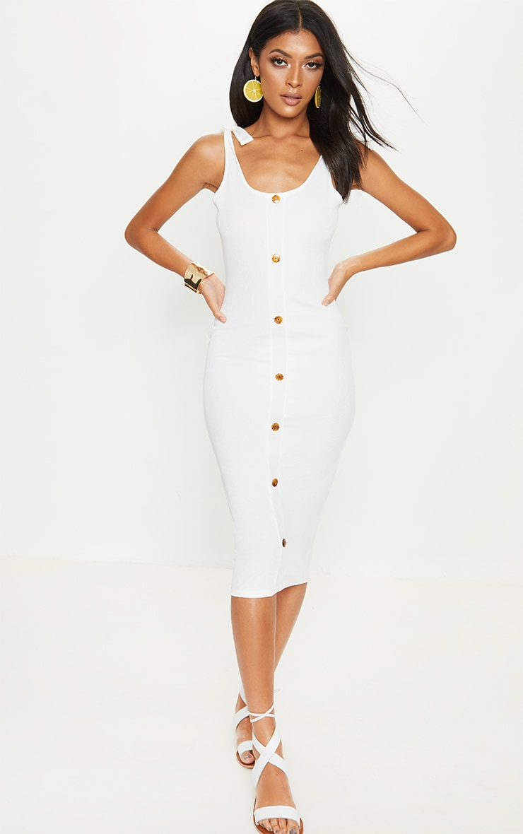 White Ribbed Tie Shoulder Tortoise Shell Button Down Midi Dress 1