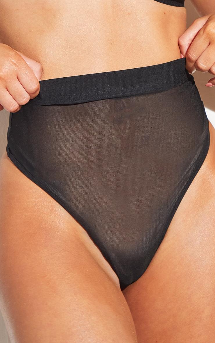 Black Shapewear Power Mesh Control Thong 4