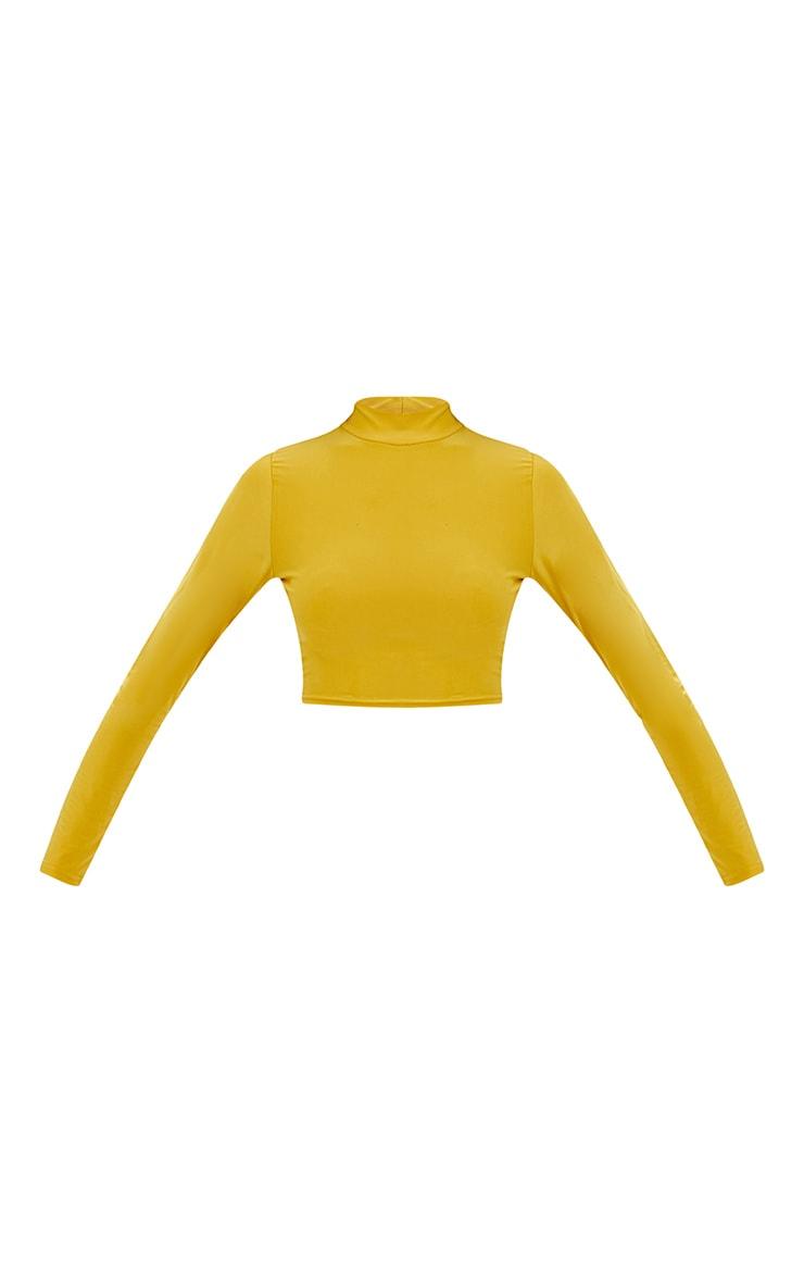Petite Mustard Slinky High Neck Crop Top 3