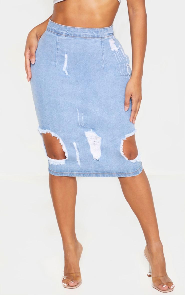 Shape Light Wash Distressed Denim Midi Skirt 3
