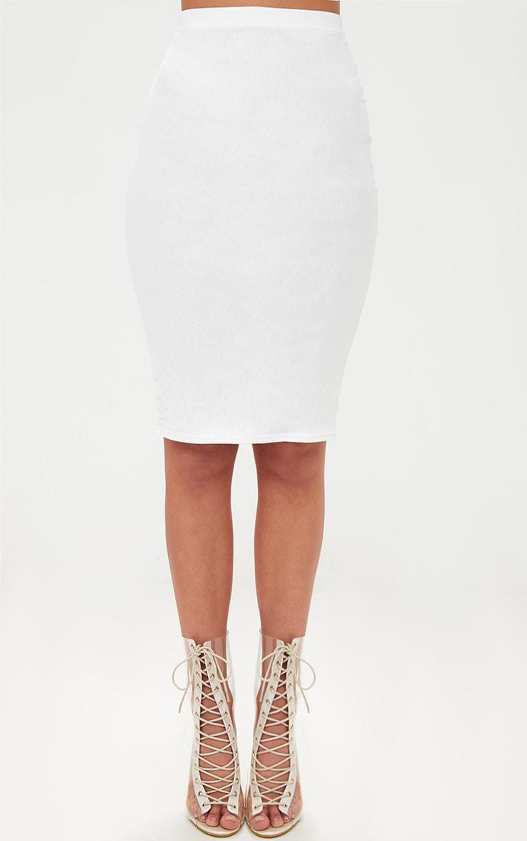 White Mesh Midi Skirt 2