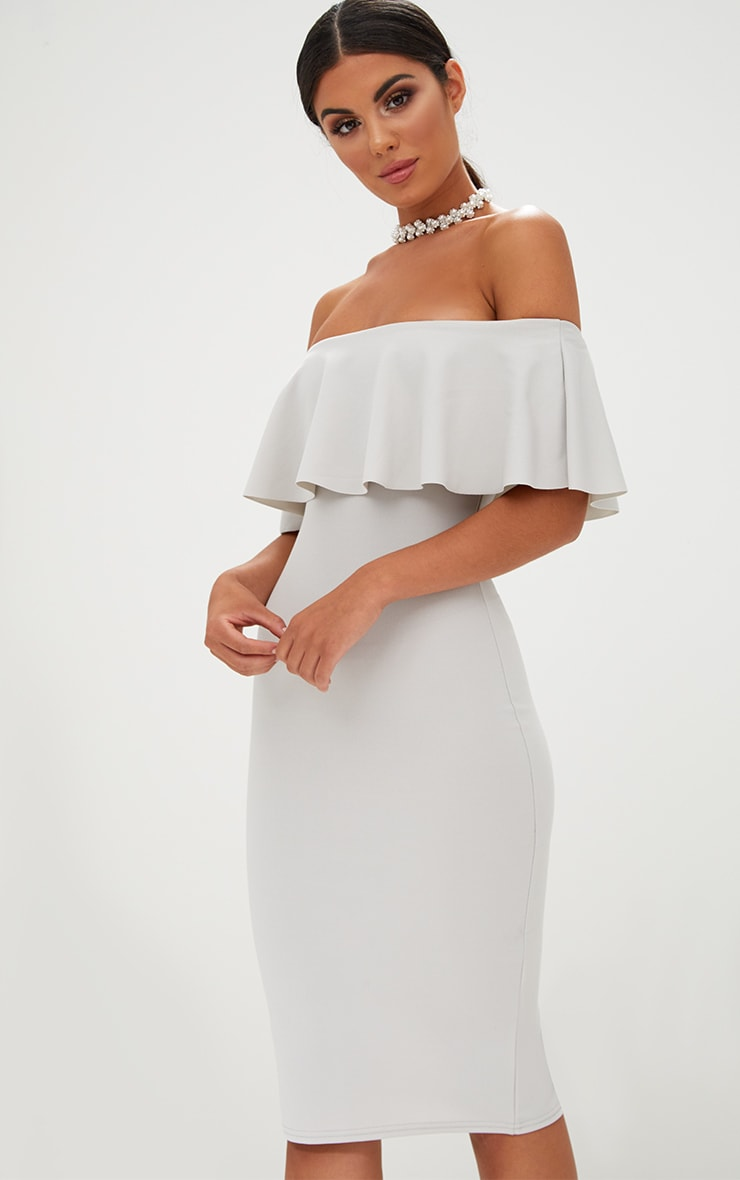 Ice Grey Bardot Frill Midi Dress  1