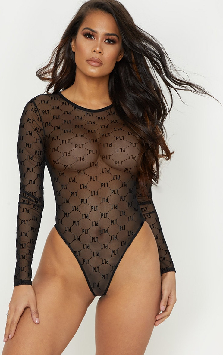 PRETTYLITTLETHING Black Mesh Flock Long Sleeve Body 1
