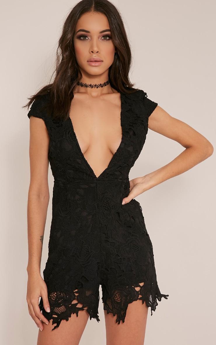 Eleena Black Lace Plunge Playsuit 1
