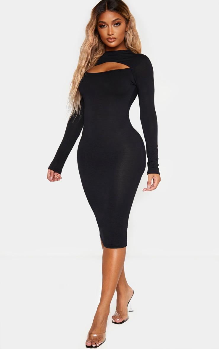 فستان أسود متوسط الطول بأكمام طويلة بقصة مفتوحة مصمم من قماش الجيرسي 4