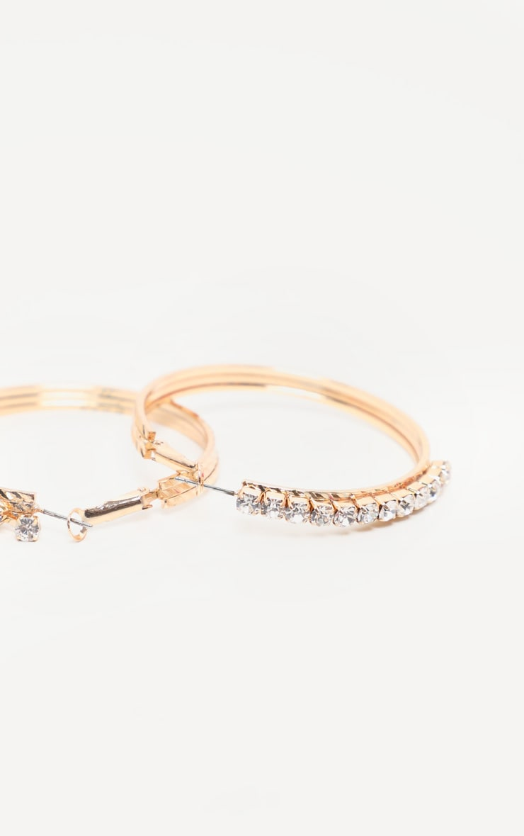 Gold Diamante Medium Hoop Earrings 3