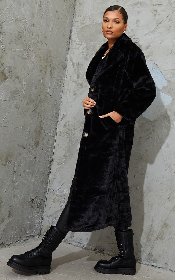 Black Maxi Faux Fur Button Front Coat 1
