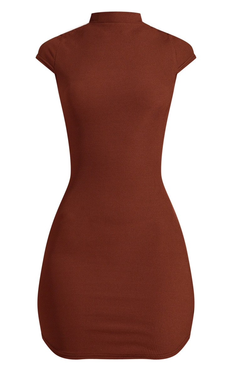 Chocolate Brown Ribbed High Neck Bodycon dress  3