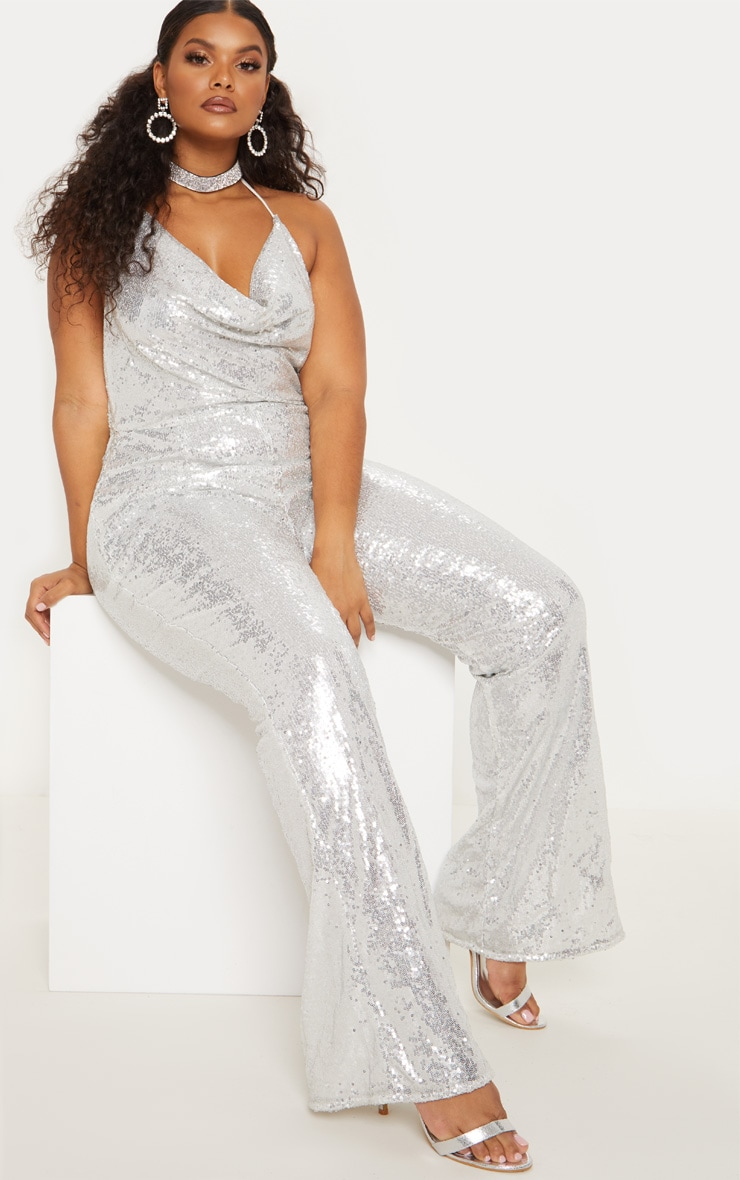 Plus Silver Sequin Cowl Neck Halterneck Jumpsuit  2