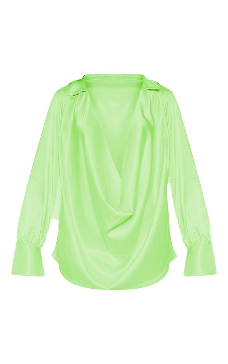 Neon Lime Extreme Cowl Longline Satin Shirt 3