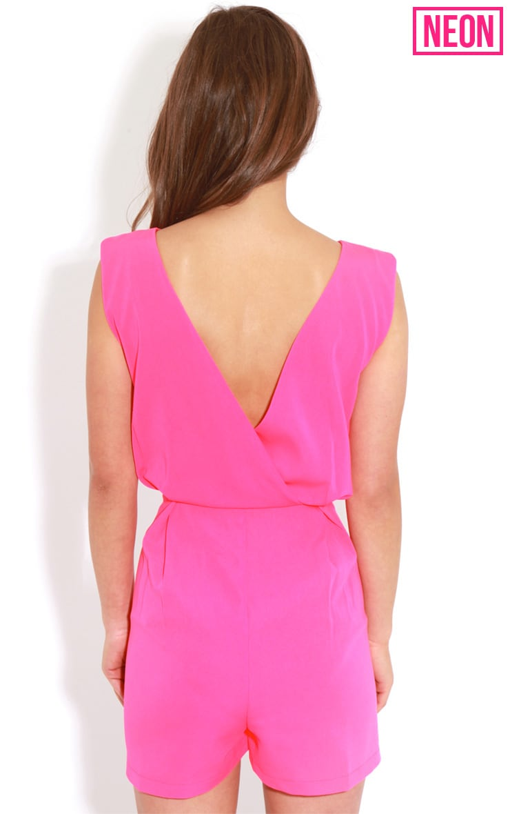 Diana Neon Pink Cross Over Playsuit 2