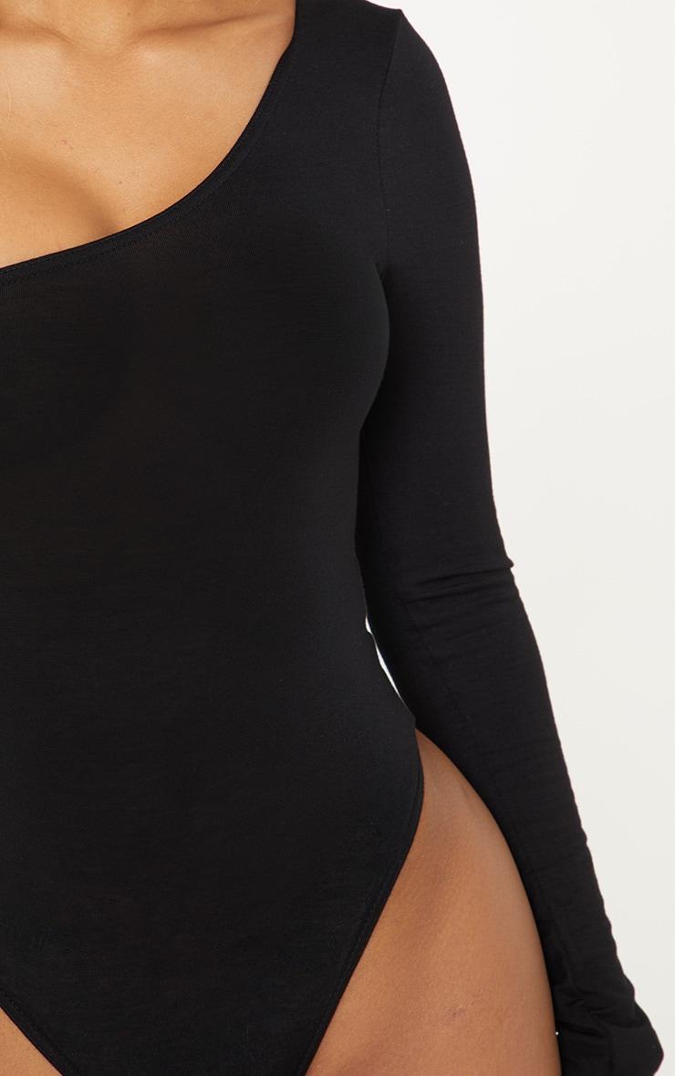 Shape Black Asymmetric Long Sleeve Bodysuit 5