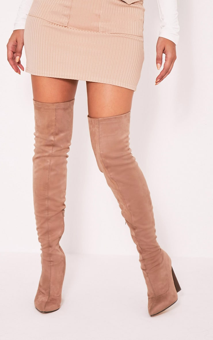Tonya Nude Suede Thigh High Heeled Boots - Boots -3338